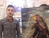 عصام مخيمر وإحدى لوحاته