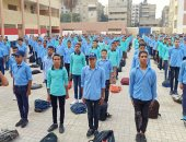 طلاب الثانوية الفنية خلال أدائهم تمارين التربية العسكرية