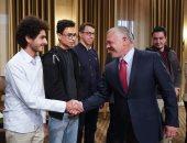 الملك عبد الله مع طلاب الأردن