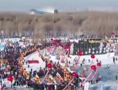 مهرجان استخراج الثلج فى الصين