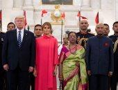 الرئيس الهندى وزوجته يستقبلان الرئيس ترامب وزوجته