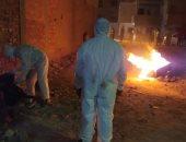 حرق نعش متوفى بكورونا بعد دفنه بمقابر قرية الجابرية بالمحلة