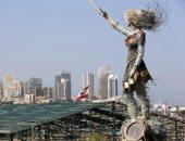 """تمثال """"عروس الثورة"""" بموقع انفجار ميناء بيروت"""
