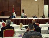 أبو مازن خلال لقائه مع أعضاء المجلس الثورى لحركة فتح