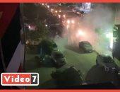 حريق بسيارة فى مدينة نصر