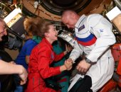 وداع رواد محطة الفضاء للفريق الروسى