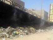 جانب من انتشار القمامة بجوار كوبرى المطاحن بمنطقة بشيل فى الجيزة