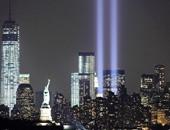 عمودان من النور رمز لبرجى التجارة فى ذكرى الاعتداء الإرهابى 11 سبتمبر 2001