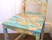 1-كرسى مزين بخريطة العالم بأوراق المجلات