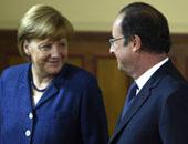 الرئيس الفرنسى هولاند ، والمستشارة الالمانية ميركل
