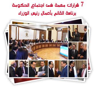 7 قرارات مهمة فى اجتماع الحكومة برئاسة القائم بأعمال رئيس الوزراء