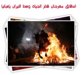 انطلاق مهرجان قفز الجياد وسط النيران بإسبانيا