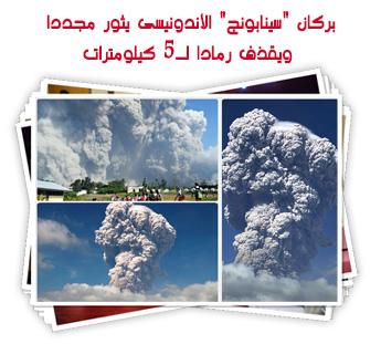 """بركان """"سينابونج"""" الأندونيسى يثور مجددا ويقذف رمادا لـ5 كيلومترات"""