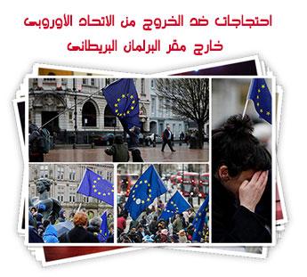 احتجاجات ضد الخروج من الاتحاد الأوروبى خارج مقر البرلمان البريطانى