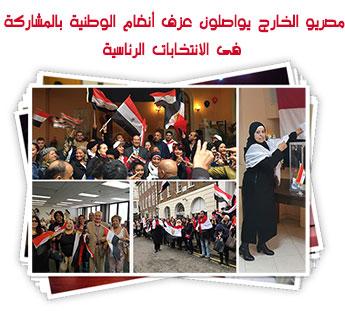 مصريو الخارج يواصلون عزف أنغام الوطنية بالمشاركة فى الانتخابات الرئاسية