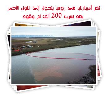 نهر أمببارنايا فى روسيا يتحول إلى اللون الأحمر بعد تسرب 200 ألف لتر وقود