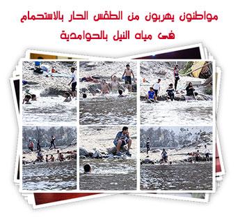 مواطنون يهربون من الطقس الحار بالاستحمام فى مياه النيل بالحوامدية