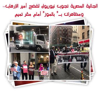 """الجالية المصرية تجوب نيوريوك لفضح أمير الإرهاب.. ومظاهرات بـ"""" بالموز"""" أمام مقر تميم"""