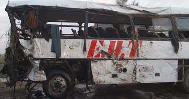 إصابة 18 شخصاً فى حادث تصادم أتوبيس رحلات بالطريق الزراعى بدمنهور