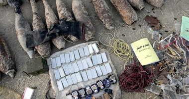 ضبط طن متفجرات وصواريخ وسط سيناء قبل تهريبها لغزة
