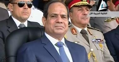 عزف السلام الوطنى فور وصول الرئيس لحضور احتفالات نصر أكتوبر