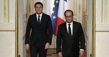 بالصور.. هولاند يستقبل رئيس وزراء ايطاليا بقصر الإليزيه