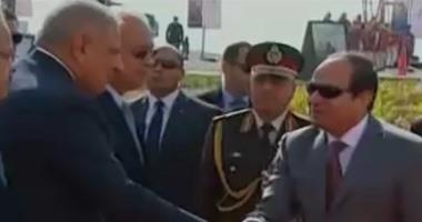 الرئيس عبد الفتاح السيسى بعد وصوله شرق التفريعة