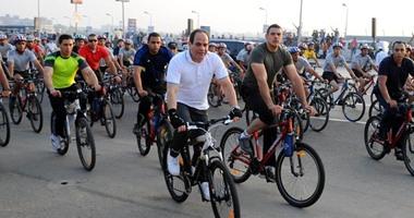 """الرئيس السيسى يتقدم الماراثون الدولى """"الجميع من أجل السلام"""" بشرم الشيخ"""