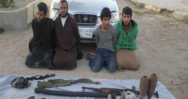 صورة الجهاديين الأربعة المقبوض عليهم بواسطة الحدود برفح