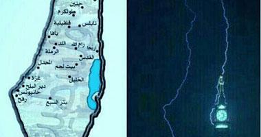 نشطاء يتداولون صورة لصاعقة فوق ساعة مكة ترسم خريطة فلسطين