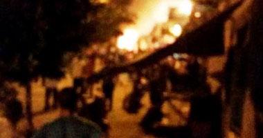 كردون أمنى بمحيط حريق مصنع كيماويات المعادى.. ومحاولات للسيطرة عليه