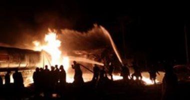 13 عربة إطفاء و10 سيارات إسعاف للسيطرة على حريق محطة وقود بدمياط