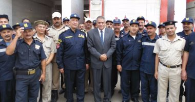 بالصور.. لجنة من وزارة الداخلية تراجع تأمين الحماية المدنية بالفيوم