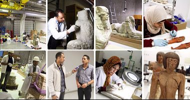 """بالصور.. """"اليوم السابع"""" داخل أكبر مركز ترميم فى العالم.. معامل المتحف المصرى مساحتها 32 ألف متر وتضم 19 معملا.. ومدير عام الشئون الفنية: العمل يتم بأحدث الأساليب.. وسيصبح مركزا إقليميا بالشرق الأوسط"""
