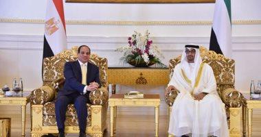 جلسة مباحثات بين السيسى ومحمد بن زايد فور وصوله الإمارات