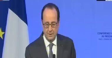 """هولاند: """"حل الدولتين"""" فى خطر.. والعالم لا يمكنه قبول الوضع الراهن فى فلسطين"""
