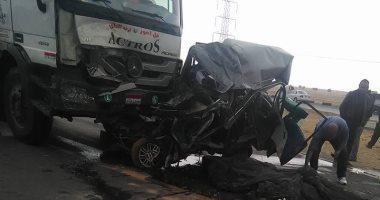 بالأسماء.. إصابة 9 فى حادث تصادم سيارتين جنوب بنى سويف