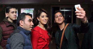 """بالصور.. آيتن عامر ومحمد شاهين يحتفلان بعرض فيلمهما """"يا تهدى يا تعدى"""""""