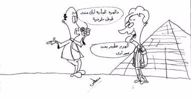 """""""ميسى"""" والملوخية و""""خصام اللحمة"""".. أحدث أعمال أصغر فنان كاريكاتير فى مصر"""