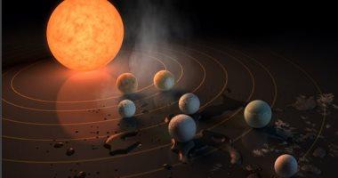 بالفيديو والصور.. ناسا تعلن اكتشاف 7 كواكب جديدة بحجم الأرض.. بينها ثلاثة صالحة للحياة.. تدور حول نجم يقع على بعد 40 سنة ضوئية.. مياه سطحية سائلة على 3 منها.. والعلماء: نقطة بداية لإيجاد حياة خارج كوكبنا