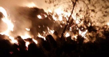 بالصور... 15سيارة إطفاء تسيطر على حريق فى شونة قش أرز بالقليوبية