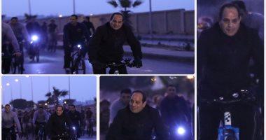 السيسى يقود ماراثون دراجات بمشاركة طلاب أكاديمية الشرطة بالتجمع