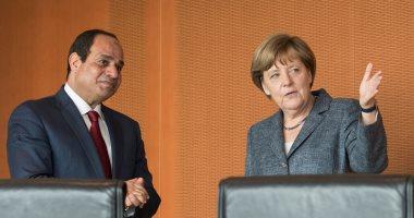 """المستشارة الألمانية أنجيلا ميركل تصل """"الاتحادية"""" لبدء مباحثات مع السيسي"""