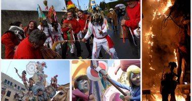 المئات يحتفلون بقدوم الربيع فى إسبانيا بإشعال النار بتمثال لترامب وميركل