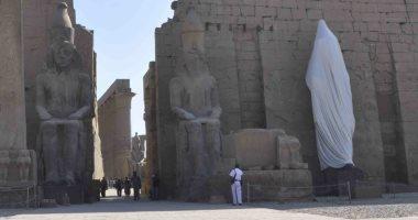 بالصور.. تمثال رمسيس الثانى قبل إزالة الستار عنه بمعبد الأقصر