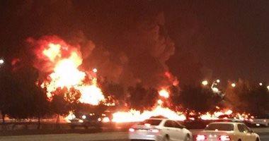 """بالفيديو.. حريق هائل فى طريق """"جدة_مكة"""" بالسعودية بسبب انقلاب حافلة بنزين"""