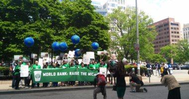 بالصور.. وقفة احتجاجية أمام البنك الدولى لرفض سياساته المالية