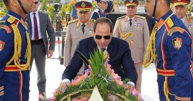 ننشر صور زيارة السيسى للنصب التذكارى لشهداء القوات المسلحة