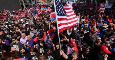 تظاهرات بلوس أنجلوس فى أمريكا لإحياء الذكرى الـ102 لـمذابح الأرمن