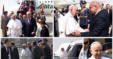 بابا الفاتيكان يصل القاهرة ورئيس الوزراء فى استقباله